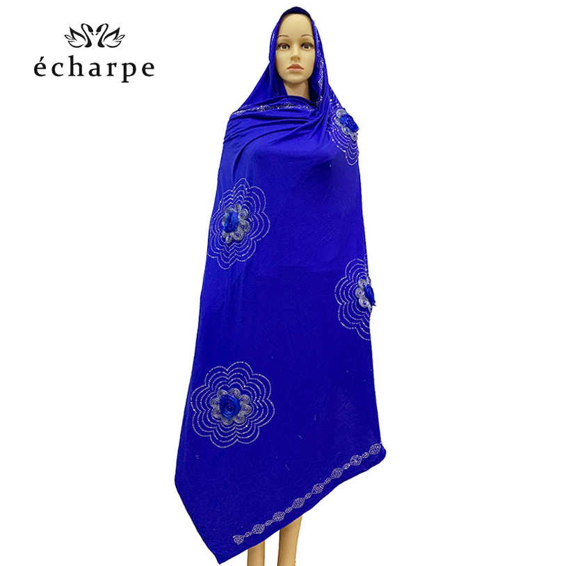 צעיף אפריקאי, 2019 חדש מוסלמי רקום נשים כותנה צעיף, יפה וחסכוני כותנה גדול גברת צעיף לצעיפים EC181