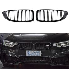 2Pcs/set Double Slat Kidney Grille Front Bumper Racing Grill for BMW 4 Series F32 F33 F36 420i 428i 435i M4 2014-2016 pair front kidney sport grille racing grill double slat for bmw f32 f33 f36 f82 420i 428i 435i m4 2014 2018 gloss black m color