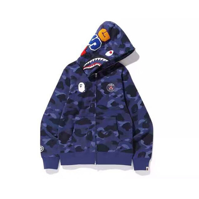 Popular Brand Bape X Psg Paris Saint Germain Joint Camouflage Blue Hoodie Men And Women Celebrity Style Couples Hoodie