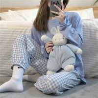 Pijama de algodón para mujer, traje para casa, ropa de descanso, pantalones a cuadros, camisón, Coreano