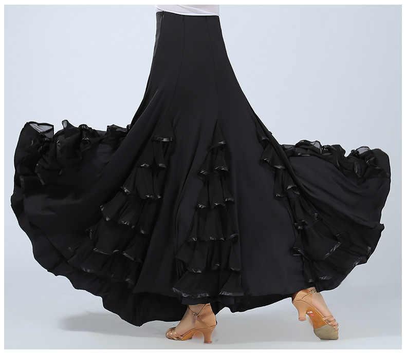 Nueva falda de Flamenco, vestido de baile de salón, falda para mujer/España, vals, Tango, baile, media falda