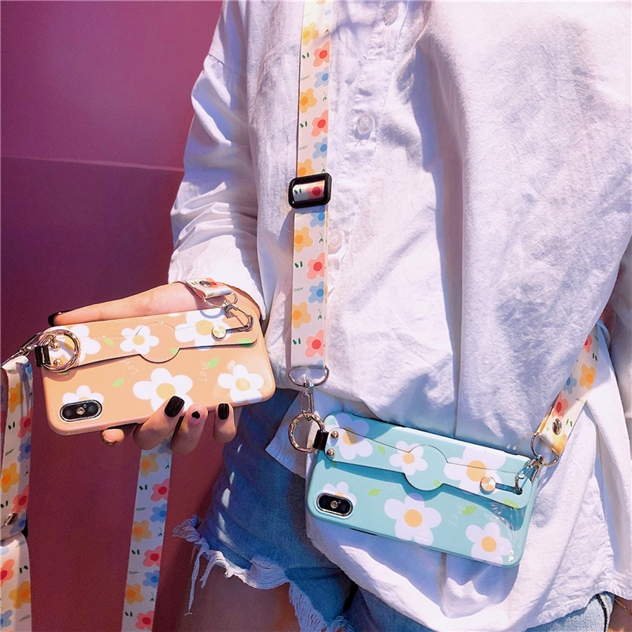 ins flower strap silicon case for iphone 8 7 6 6s plus XR X XS MAX cover wristband holder shoulder lanyard soft pho