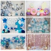 Laeacco urodziny dziecka tła imprezowe dla chłopca noworodka Photozone niebieskie balony kwiaty ciasto dziecko fotografia portretowa tło