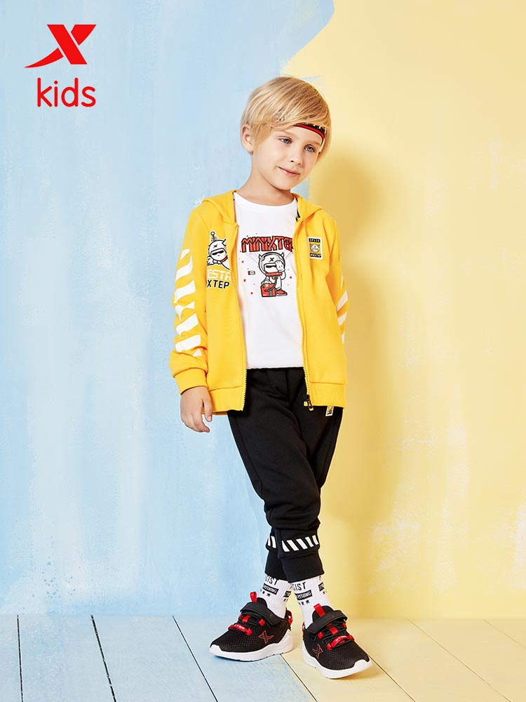 Xtep Boy Sport Suits Comfortable Kids Casual Loose Cartoon Sport Set Breathable Knitwear And Trousers Set 681325349178