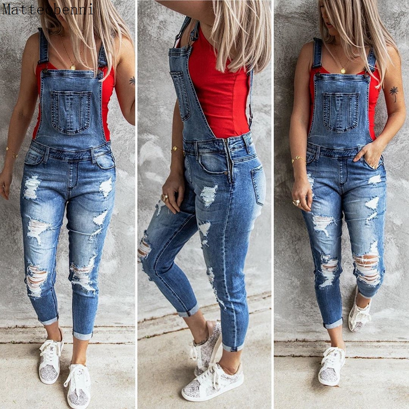 Women Sexy Ripped Hole Denim Jumpsuit Ladies Autumn Fashion Loose Jeans Rompers Vintage Casual Plus Size Pocket Overall Playsuit