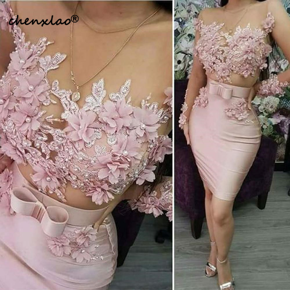 Pink Evening Dresses Short 2019 Lace Applique Beaded 3D Flowers Mermaid Evening Gowns Robe De Soiree