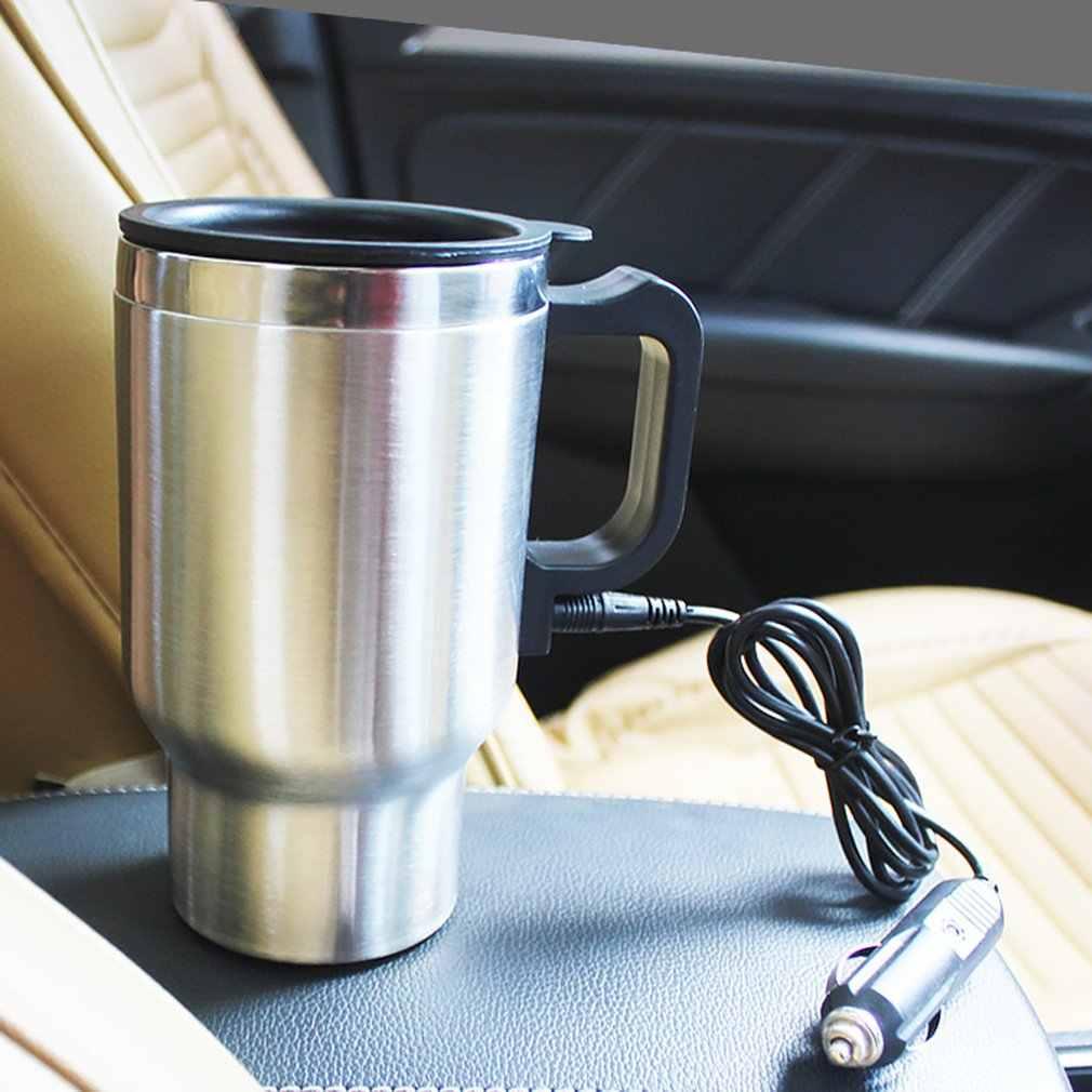 12 v 500ml térmica de aço inoxidável copo aquecimento carro adaptador automático chaleira aquecida caneca viagem acessórios do automóvel viagem acampamento