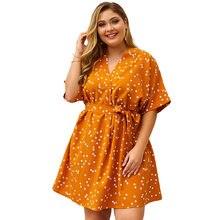 Шикарное летнее повседневное женское платье в горошек с v образным