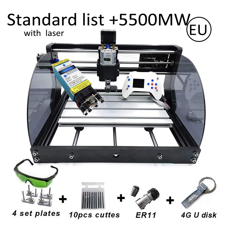 15W CNC Router Machine Hobby DIY Engraving Machine For Wood PCB PVC Mini CNC3018  Laser Engraver