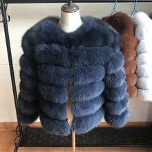 NEW 55CM Women Warm Real Fox Fur Coat Short Slim Winter Genuine Jacket Fashion Outwear Luxury Natural For