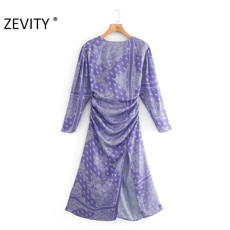 ZEVITY Women vintage totem flower print split a line midi Dress lady pleat back zipper Vestido Casual slim autumn Dresses DS4314