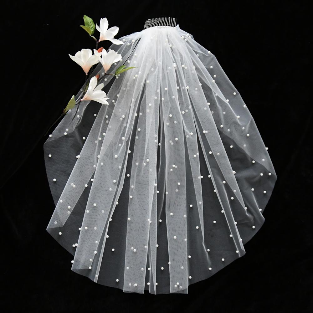 TOPQUEEN V05 Luxury Wedding Bridal Veils 40 CM Veil with Pearl and Metal Comb Short Veil  Wedding Veils for Brides White Ivory
