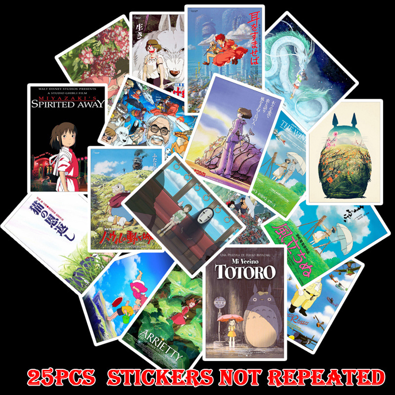 25PCS Hayao Miyazaki Anime Movie Stickers Spirited Away Totoro Carton Vinly Stickers to Kids Toy for Luggage Laptop Decor image