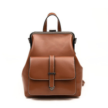 2020 summer new college style retro backpack for women Pu leather fashion multipurpose backpack woman Clip bag