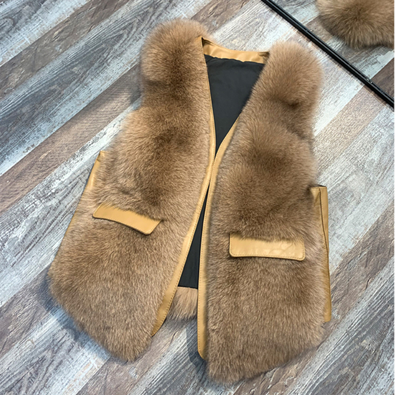 ZDFURS* Natural Real Fox Fur Vest 2019 Winter Fashion Fur Coat Fox Jacket Female Real Fur Fox Vest Long Fur Coats
