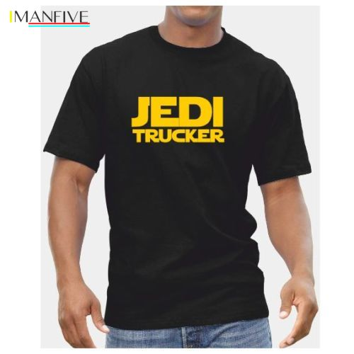 Jedi Trucker TShirt - Mens Star Wars Starwars Gift Present Lorry Driver Free shipping Print T Shirt Mens Short Sleeve Hot