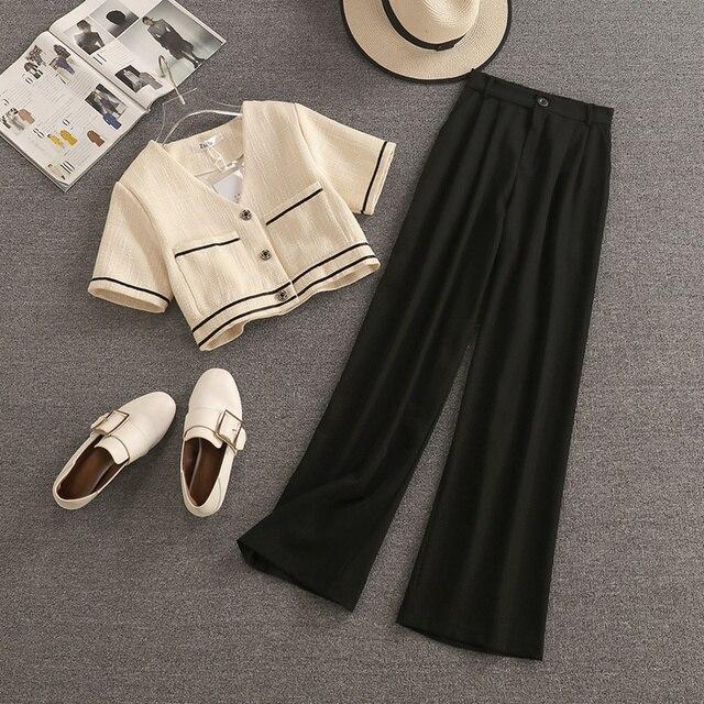 Streetwear Fashion Summer Two Piece Set Women Crop Top Shirt Blouse + Wide Leg Pant Suits Vintage Jacket Coat Pants 2 Piece Set 1