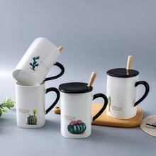 Cactus ver2 Beautiful Ceramic Mug with Lid Spoon Tea Milk Cups Home Office Drinkware Waterware
