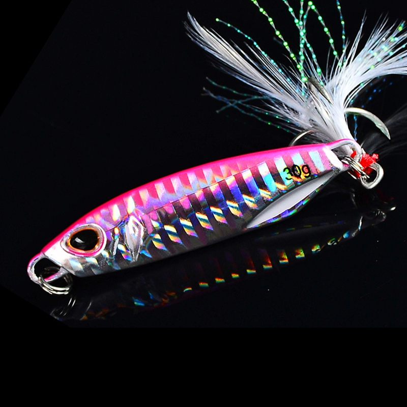 10g/15g/20g/30g/<font><b>40g</b></font>/50g Fishing Lures Artificial Bait Reusable <font><b>Metal</b></font> Sinking Casting Lure <font><b>Jigging</b></font> Spoon With Treble Fishhook image