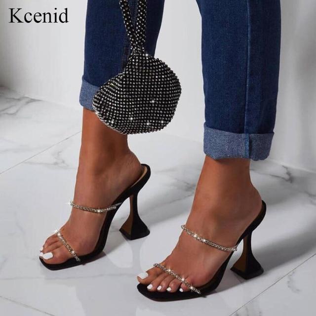 Kcenid 2020 ブリンブリンラインストーンクリスタル女性スリッパカット夏の靴女性パンプスハイヒールミュールスライド女性パーティー靴