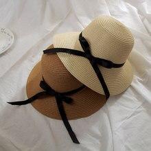 New fashion simple Women Summer Beach Black White Ribbon Hat Bow Raffia Hat Temperament Flat Straw Hats Women's Sea Beach Hat