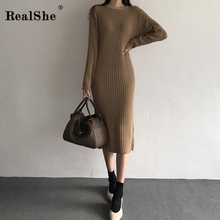 RealShe Cashmere Sweater Women O-neck Long Sleeve Solid Sweater Woman Pullover Casual Autumn Winter Long Knitted Sweater Dress realshe long sleeve sweater women turn down collar buttons solid sweater women winter sweater woman pullover 2019 female sweater