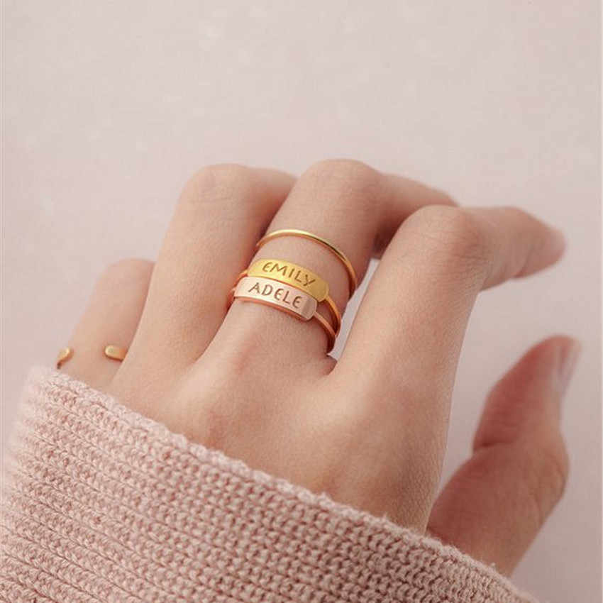 Custom Name Ring Adjustable Custom Ring Stackable Name Rings Personalized Rings Name Jewelry Ring for Women Initial Ring Lover/'s Gift