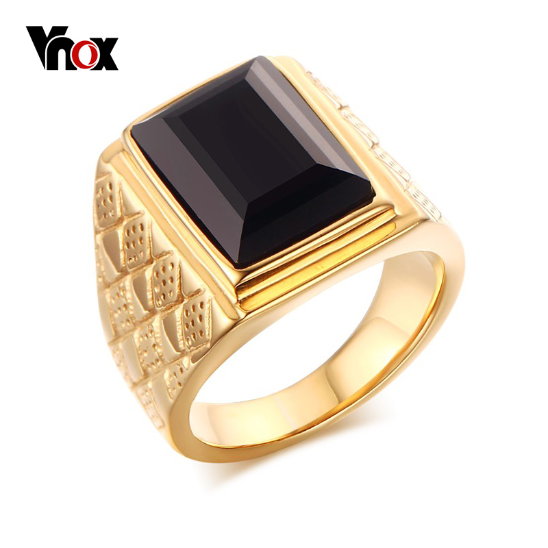 Vnox Men Black Stone Signet Rings Stylish Rhombus Design Male Ring Gifts Jewelry