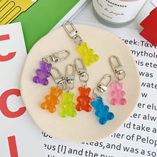 1PC resin gummy bear keychain flatback resin Colorful Candy Color Animal Resin Pendant charms resin keyring for woman jewelry