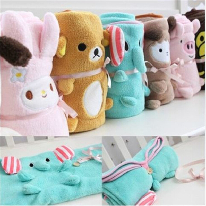 Cartoon Animal Baby Blanket Coral Fleece Baby Sleeping Blanket Newborn Swaddle Stroller Wrap Super Soft Nap Blanket Bedding