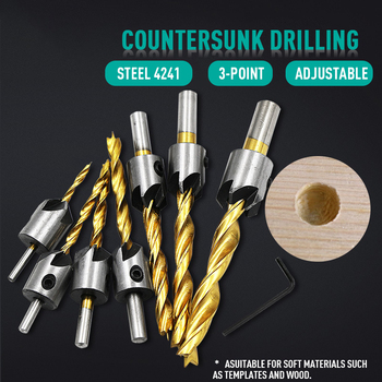 цена на 7Pcs High Speed Steel Three-point Countersunk Head Drill Titanium-plated Reaming Drill Bit Woodworking Countersunk Drill Set