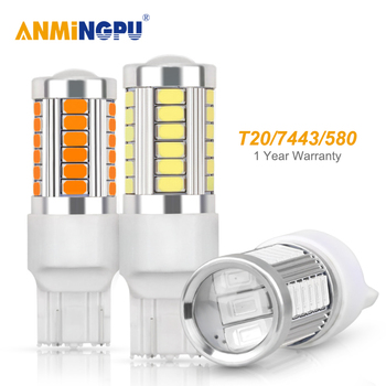 ANMINGPU 2x Signal Lamp W21/5W T20 Led Bulb 33SMD 5730 Chips 7440 W21W WY21W 7443 Canbus Reverse Backup Turn Signal Light White nlpearl 2x signal lamp t20 w21w led w21 5w led wy21w 7440 7443 led bulb 3030 smd turn signal light brake reverse light red white