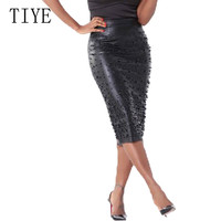 TIYE High Elasticity Fashion PU Leather Skirt Beading Split Irregular Female Knee Length Skirts Summer Elegant Women Streetwear