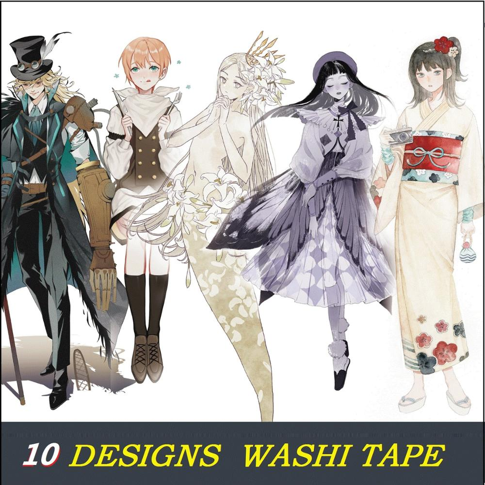 10 Designs Washi Tape Special Ink Planner Girls Japanese Decor Adhesive DIY Masking Paper Label Stickers Diary Scrapbooking Gift