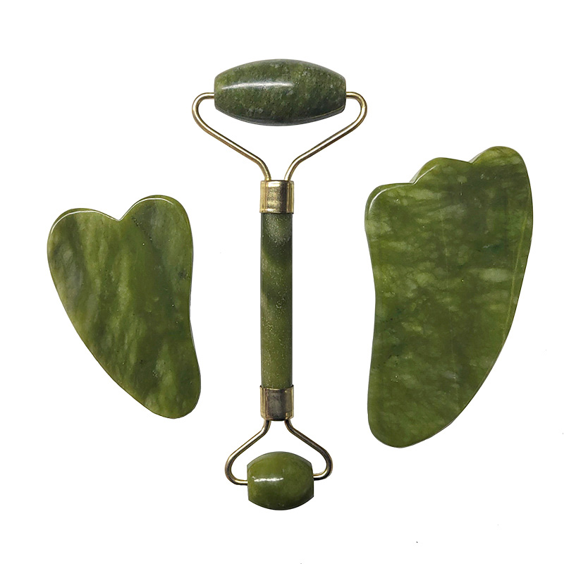 Jade Roller Facial Massage Tool Set Natural Stone Face Massager Guasha Massage Board Gouache Scraper Jade Roller And Guasha Kit