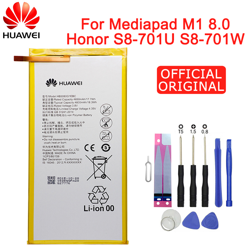 Hua Wei Replacement Tablet Battery HB3080G1EBC/HB3080G1EBW for Huawei Mediapad M1 8.0 T1 821W/823l M2 803L Honor S8 701W 4800mAh|Mobile Phone Batteries| |  - title=