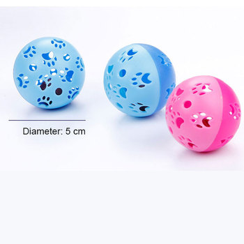 1PCS Creative and fashionable cat self-hey toy hollow bell ball entertainment paw print ball candy color pet supplies TSLM1 image