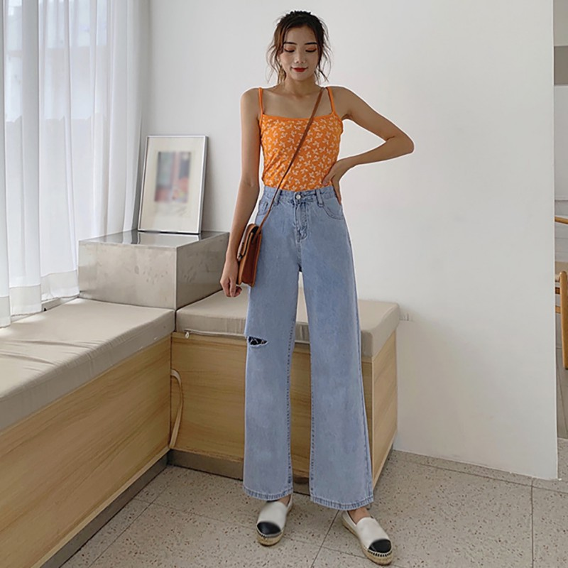 Women's Denim Loose Casual Blue Straight   Pants   Korean Style Fashion Trend High Waist   Wide     Leg     Pants