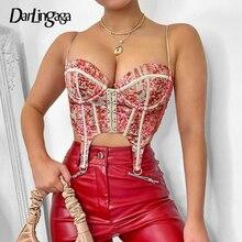 Hook Clubwear Corset Crop-Top Party-Bustier Floral-Print Darlingaga Top-Cami Strap Bodycon