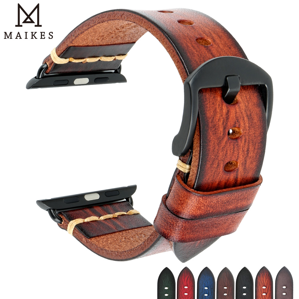 Handmade Cow Leather Watch Strap Replacement For Apple Watch Band 44mm 40mm 42mm 38mm Series 5 4 3 2 IWatch Watch Bracelet