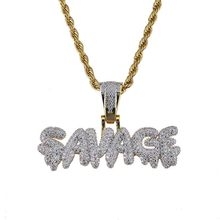 Hip Hop Necklace Brass Gold Color Iced Out Chains Micro Pave Cubic Zircon SAVAGE Pendant Necklaces Charm For Men Gifts 24 inch(China)