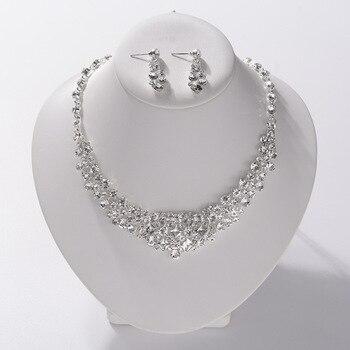 Luxury Silver Color Crystal Wedding Jewelry Set Rhinestone Choker Necklace Earrings Set African Beads Dubai Bridal Jewelry Sets Kitchen Appliances