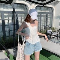 Hot Koop 2019 Fashion Solid Spaghetti Strap Tank Tops Zoete Koreaanse Backless Tops Dames Slash Hals Geplooide Camis