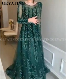 Image 3 - Emerald Green Velvet Long Sleeves Dubai Evening Dress 2020 Luxury Crystal A Line Arabic Formal Dresses Muslim Prom Party Gowns