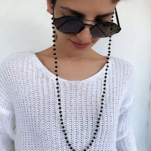 New Vintage Handmade Black Crystal Beads Eyewears Strap Necklace Women Reading S