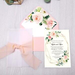 Image 3 - 50 قطعة بطاقات دعوات الزفاف ، دعوة استحمام الطفل ، عيد ميلاد ، دعوات العشاء ، جيب وردي مع زهرة