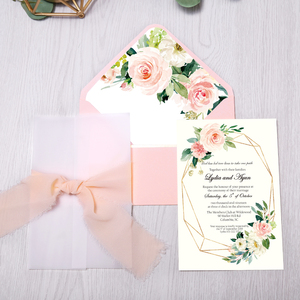 Image 3 - 50pcs Invitations Cards Bridal, Baby Shower Invite, Birthday, Dinner Invites, Pink pocket with Flower