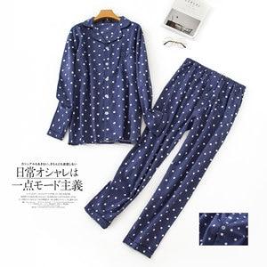 Image 3 - Pijama sencillo de algodón a cuadros para hombre, ropa de dormir informal de Corea para invierno y otoño