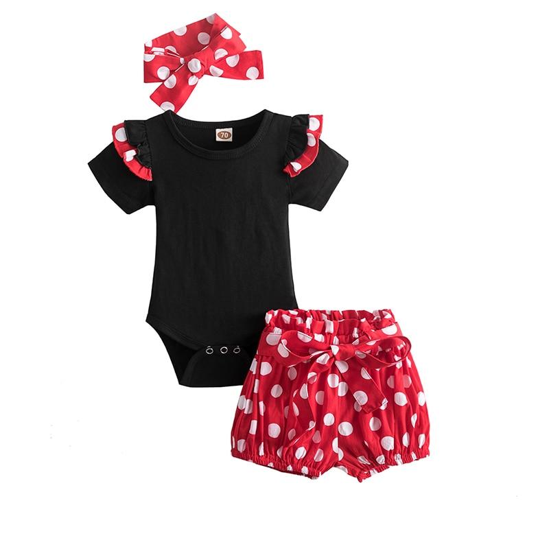 Bebê meninas bolinhas define 1 2 anos de idade festa aniversário traje macacão tops shorts calças 3 pçs infantil 12m 24m roupas