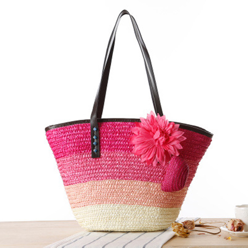 Summer Fashion Women's Handbags Straw Bag Flower Bohemian Color Stripes Shoulder Bags Lady's Bohemia Beach Bag Big Tote Bags